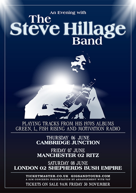 AN EVENING WITH THE STEVE HILLAGE BAND - 2019 UK DATES ANNOUNCED